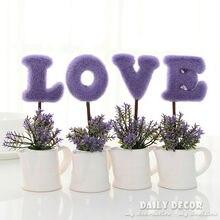"4pcs / set ! "" Love "" artificial plant / tree suit mini fake potted flowers Bonsai Valentine's Day present / gift purple / pink"