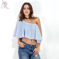 Blue Tied One Shoulder Layered Ruffles Chiffon Crop Blouse Women Summer Asymmetric Short Sleeve Casual Loose