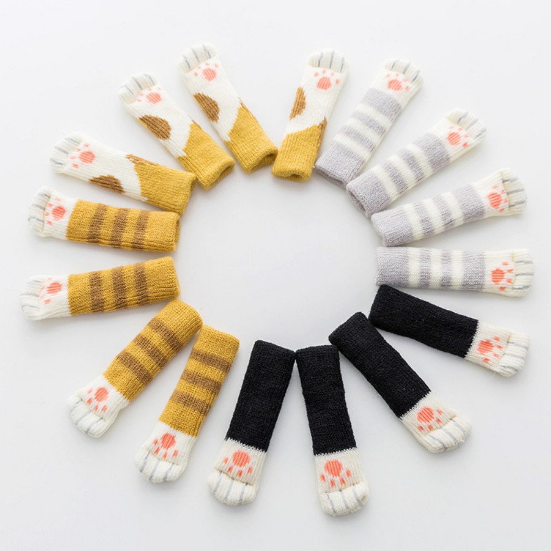 4pc Non-slip Prevent Cat Claws Clawing Gloves Knitted Cat Leg Socks Desk Chair Leg Protectors Cat Accessories
