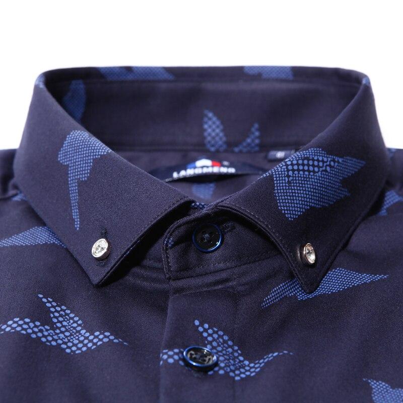 Langmeng 2017 бренд мужской высокое качество бизнес рубашка мужская с длинным рукавом толстый рубашка slim fit рубашки вскользь camisa masculina