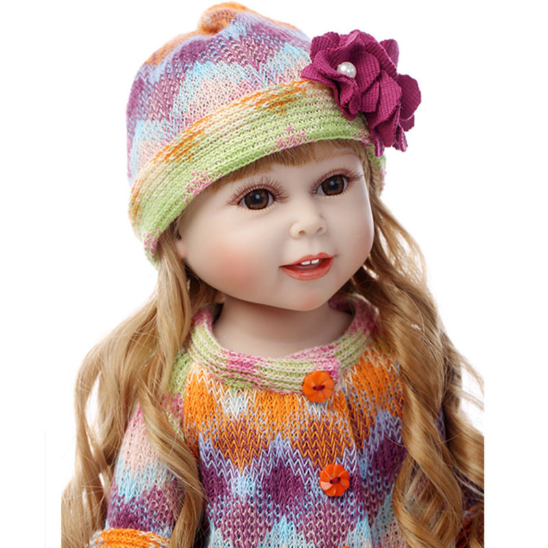 Fashion Girls Doll Vivid Princess Doll with Clothes and Hat,Cute Vinyl Dolls Toys for Children's Christmas Gift 18 inch newest vinyl dolls girl doll with dress and hat lovely princess doll toys for children christmas gift