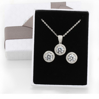 Women Fashion Jewelry Sets 925 Sterling Silver Round Style Shinning Clear CZ as gift for girls Necklace and Earrings
