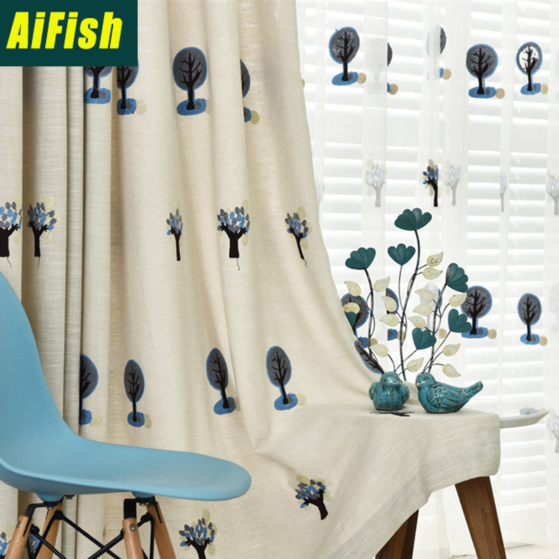 Cartoon Linen Cotton Boy Bedroom Curtains Embroidery: Children Curtains Pastoral Blue Embroidery Small Tree