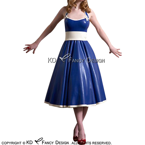 Blue With White <font><b>Sexy</b></font> Latex Dress With Bows Lacing <font><b>Alice</b></font> <font><b>in</b></font> <font><b>Wonderland</b></font> Rubber Uniform LYQ-0134 image