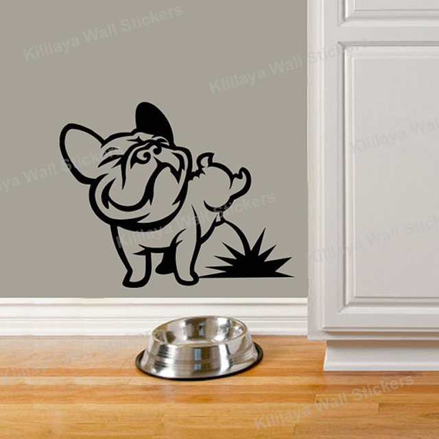 Funny Dog Pissing French Bulldog Wall Stickers Vinyl Wall
