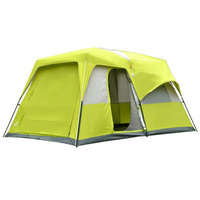 ZHUOAO 2 베드룸 1 홀 8 10 12 명 캠핑 텐트 대형 공간 안티-비 더블 레이어 가족 텐트 지원 극