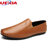 UEXIA Summer High Quality Casual Shoes Men Luxury Soft Leather Sneakers Fashion Trendy Black Brown Flats