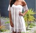 2015 Летний Новый Женщины Sexy Beach Платье Повседневная С Плеча кружева Stapless Платья Slash шеи Эластичный Пояс Мини Платья Плюс размер