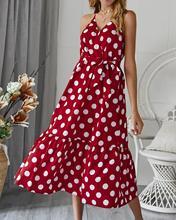 2019 ladies Long dress polka dot waist strap beach temperament commuter retro party summer sleeveless