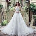 Romantic Plus Size Party Dress White/Ivory Sweep Train Organza A-Line Robe de mariee Pleated Back Lace Up Vestido de novia