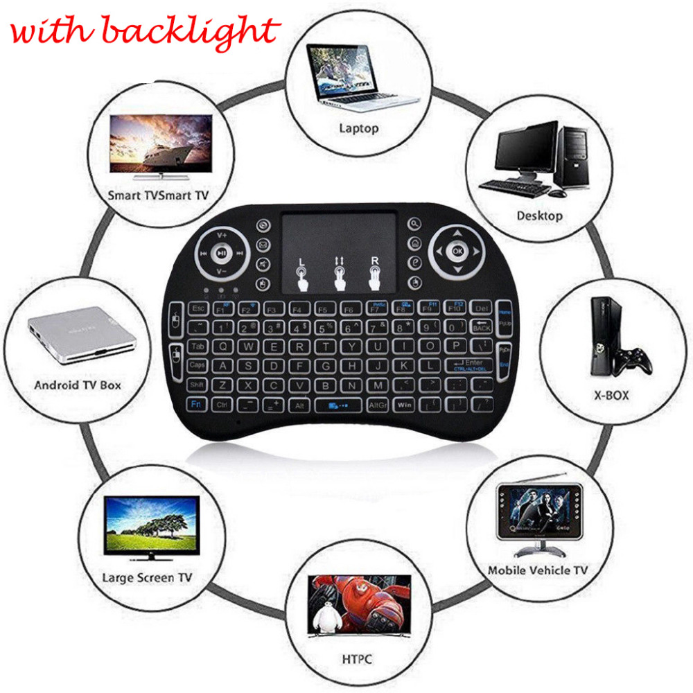 English <font><b>Wireless</b></font> <font><b>2.4GHz</b></font> <font><b>i8</b></font> Backlight <font><b>Keyboard</b></font> Touchpad Fly Air Mouse mini <font><b>keyboard</b></font> remote control forAndroid TVBox Desktop image