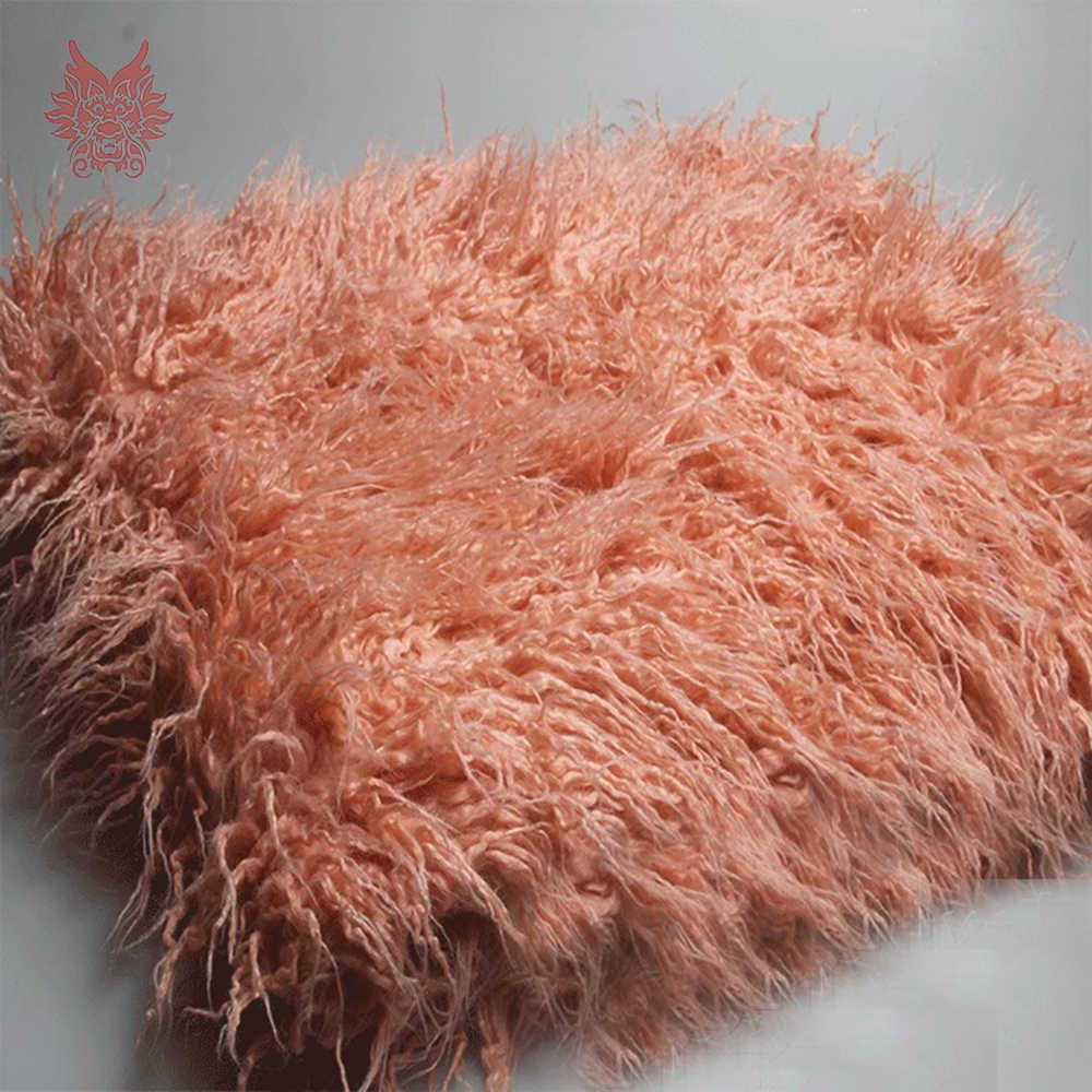 6 kleuren solid 7cm lange stapel pluizige faux mongoolse bont stof pasgeboren baby fotografie props nep tibet schapen bont tissu SP5377