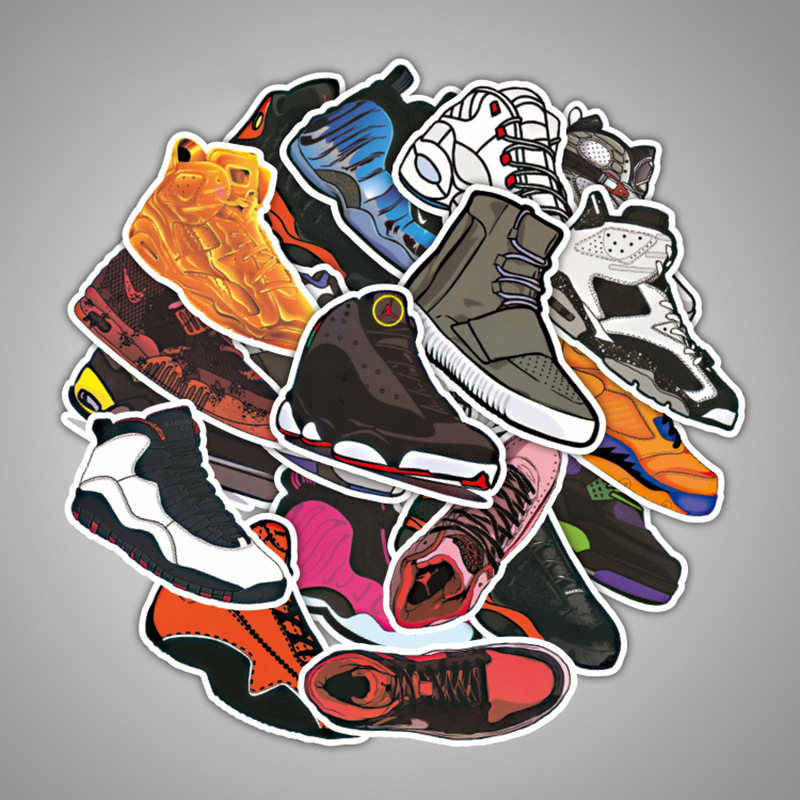 06b0accf6a1d8 100PCS Basketball Sneakers Air Jordan Vinyl Computer Stickers Decoration  Mixed Decal Toys Sticker For Laptop Moto Car Suitcase