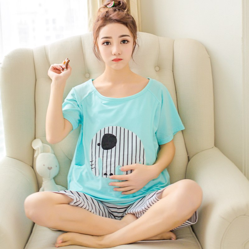 2019 Pregnancy Sleepwear Cartoon Tops Pants 2PCS Casual Maternity Nursing Pajamas Sets Autumn Pregnant Night Nightgown