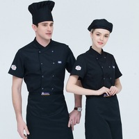 Chef Kitchen Workwear Top Summer Short Sleeve Chef Service Restaurant Hotel Waiter Overalls Jacket Work Clothes Tooling Uniform