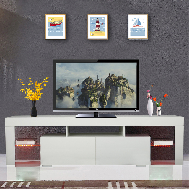 1 Set High Gloss Led Tv Stand Unit 2 Drawers Cabinet Shelf Console Home Furniture White