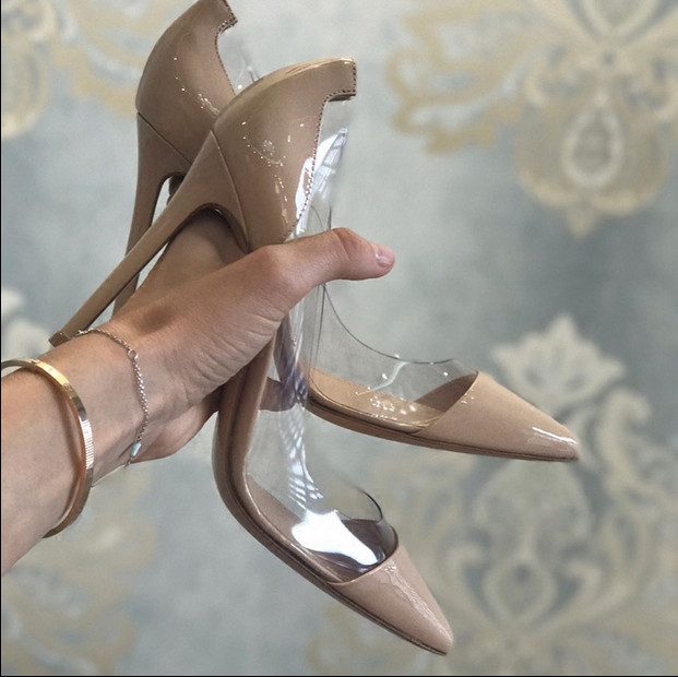Spring/Autumn 2016 Shoes Woman Sexy Pumps Transparent Pointed-Toe Thin High Heels Patent Leather Mujer Shoes Party Wedding Brand new women pumps transparent wedges high heels ankle pointed toe high heels pring autumn sexy shoes woman platform pumps