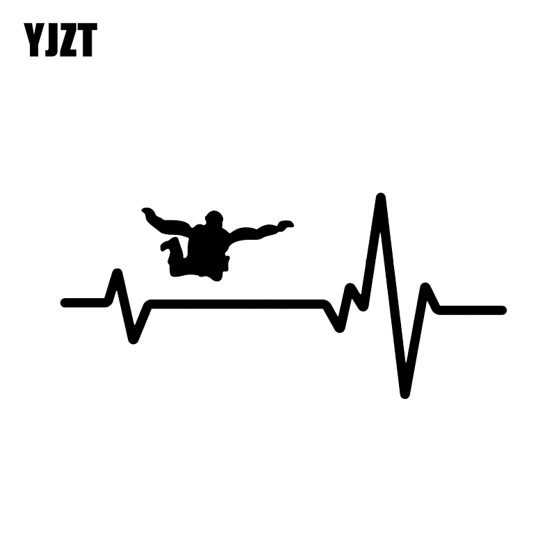 YJZT 15.9*7.4CM Heart Beat Line SKYDIVING SKYDIVE Decor Car Sticker  Silhouette Vinyl Graphic C12-0732