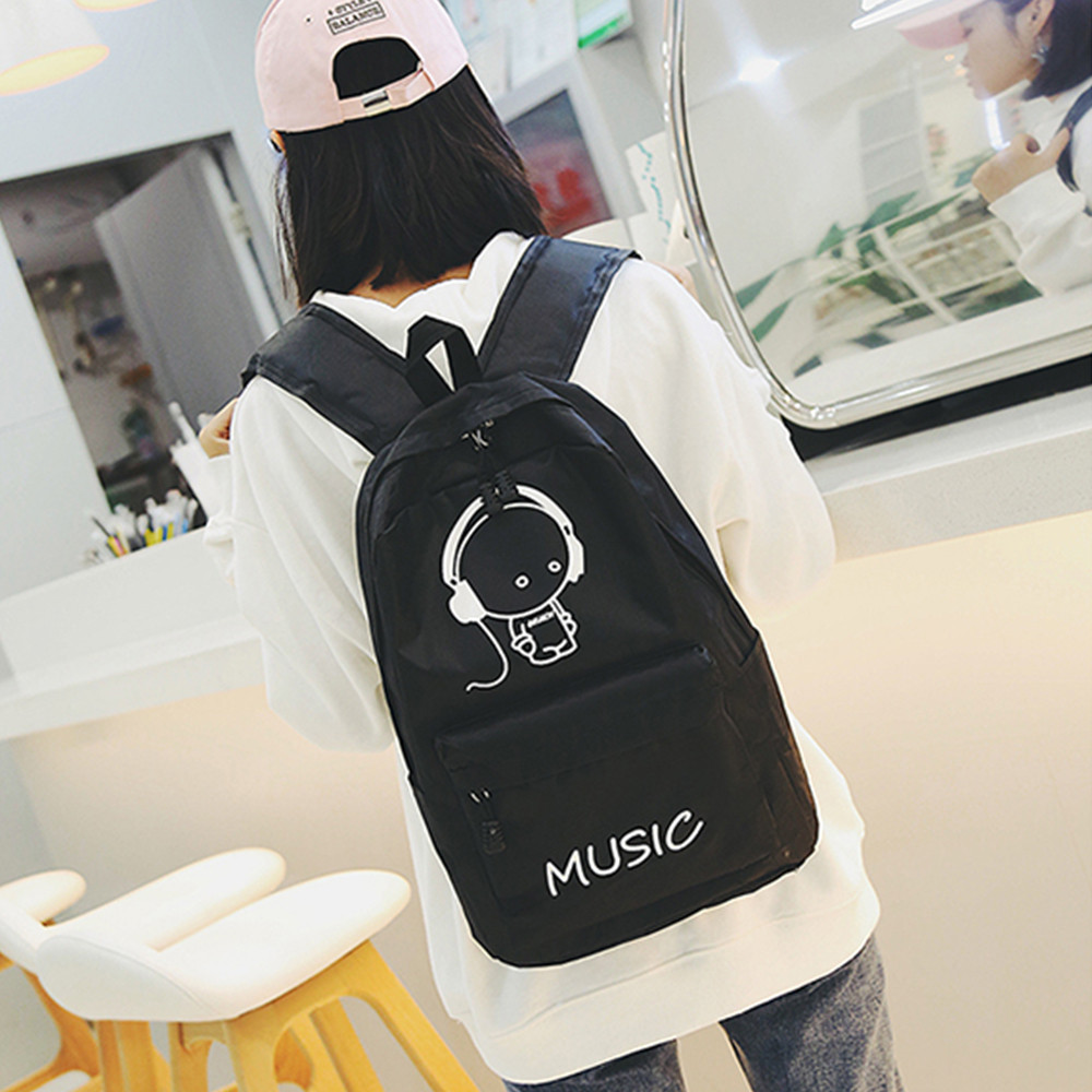 Fashion Women Female Backpacks Luminous Cartoon Printing School Bag Travel Backpack Bag Creative Girls Boys Black Shoulder Bags