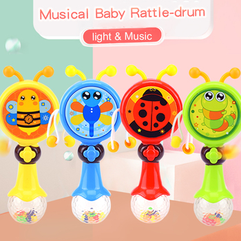 Huanger Flashing Baby Rattle 0-12 month Newborn Baby drum Toys Hand Shake Early Education Children Unisex Musical Gift toys for 2 month old