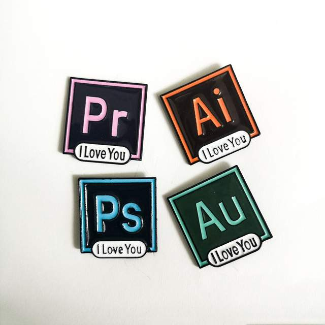 US $1 14 45% OFF I Love You PS AI Enamel Pin Brooch Illustrator Photoshop  Pins Software Icon Lapel Pin Backpack Brooches for Designer Artist-in