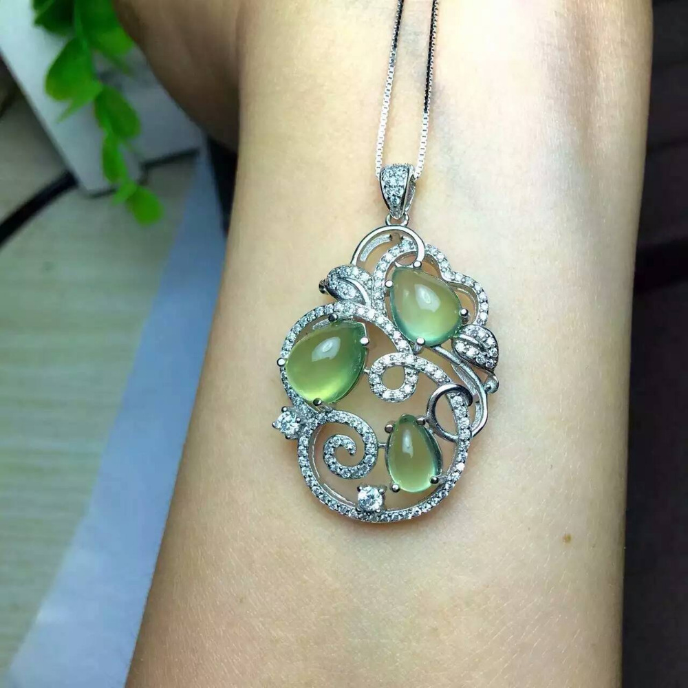 Natural green prehnite pendant s925 silver natural gemstone pendant natural green prehnite pendant s925 silver natural gemstone pendant necklace trendy elegant big branches women party jewelry in pendants from jewelry aloadofball Gallery