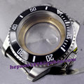43mm Sapphire glass black ceramic bezel sterile stainless steel Watch Case fit ETA 2824 2836 movement C002