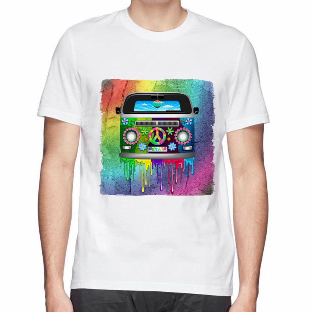 Design t shirts and sell online - Creative Design Tee The Hippie Van Dripping Rainbow Paint Print Men Summer 3d T Shirt