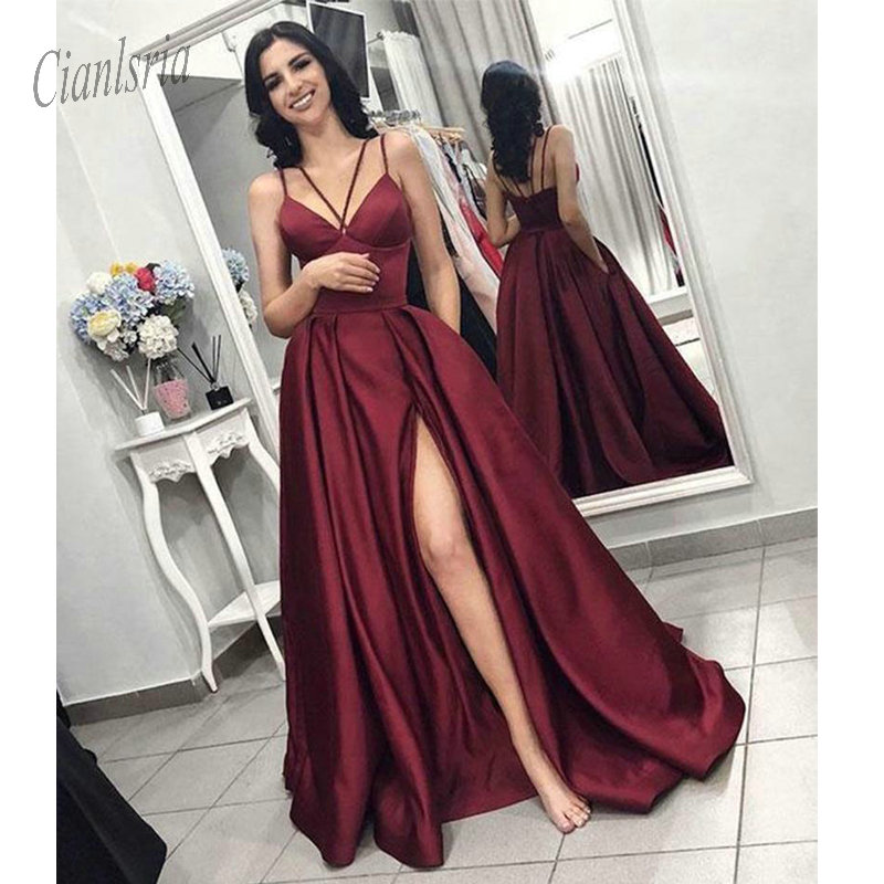 Sexy Burgundy Satin   Prom     Dresses   A Line Thigh High Sides Criss Cross Straps Long Formal Evening Party Gowns vestidos de fiesta
