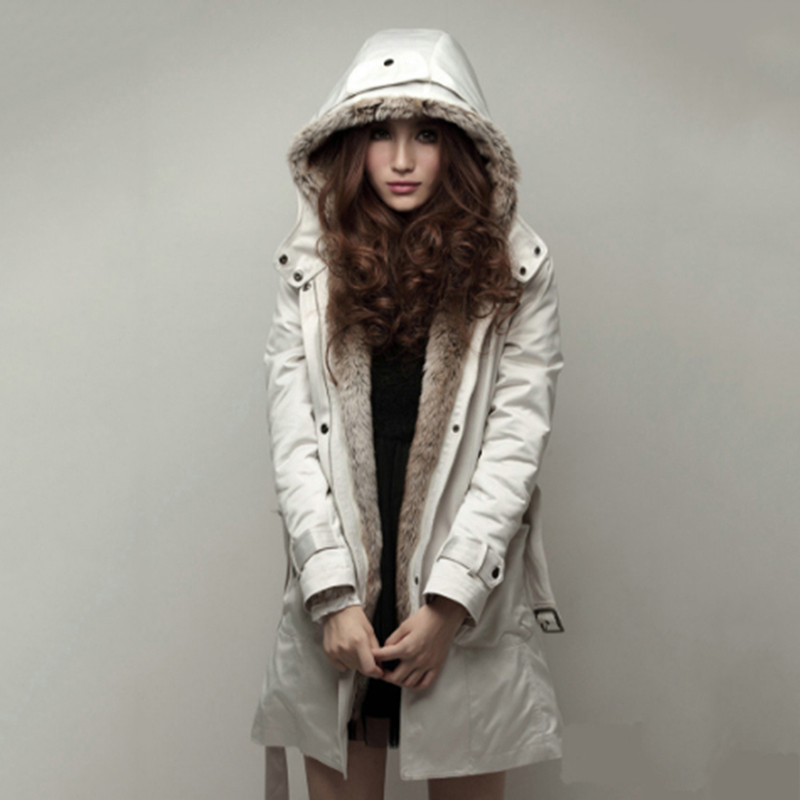 Women   Parka   Coat New Winter Jacket Thick Wool Plus Size Long Style Adjustable Fur Hooded Collar Cotton Outwear