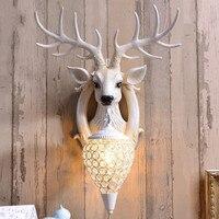 Cabeça única lâmpada de parede cabeça cervos Nordic sala TV fundo da parede da lâmpada criativa de decoração para casa lâmpadas ZP425114 Luminárias de parede     -