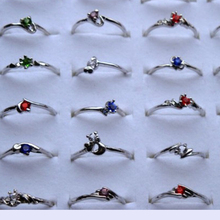 Wholesale 30Pcs Women Jewellery Bulk Mixed Silver Plated stainless Party shining Crystal Rings