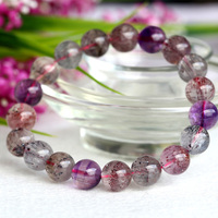 Wholesale Natural Genuine Multi Colors Mix Super Seven 7 Finish Stretch Bracelet Round Beads Melody Stone 10mm 04032