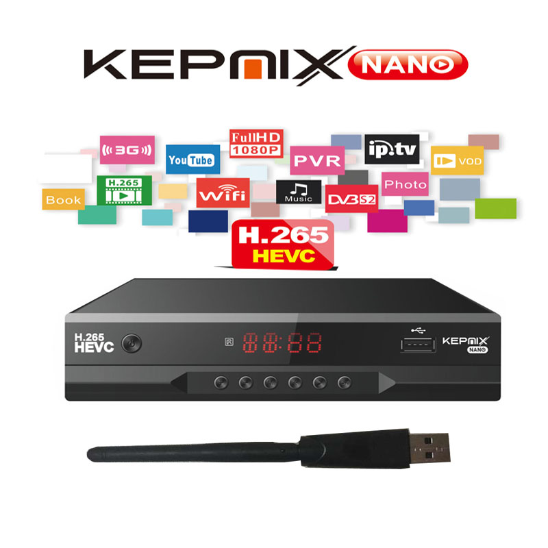Satellite Receiver KEPNIX nano h.265 hevc vs gtmedia v8 nova iptv m3u powervu xtream 2x usb metal case vs hellobx v5 sat finder