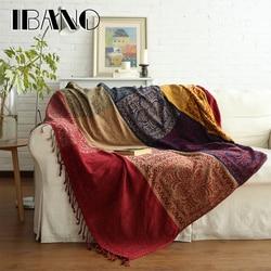 IBANO Bohemian Chenille Plaids Blanket Sofa Decorative Throws on Sofa/Bed/Plane 150x190cm/220x250cm Cobertor Blanket With Tassel