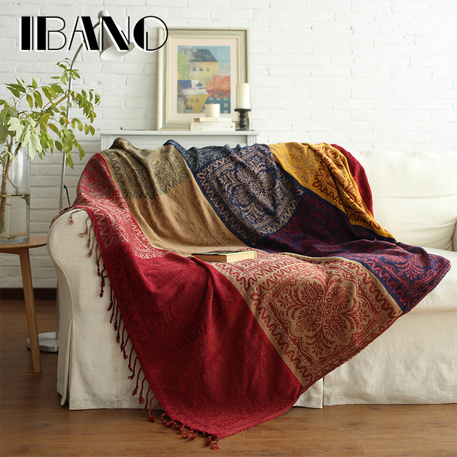 IBANO Bohemian Chenille Plaids Blanket Sofa Decorative Throws On Sofa/Bed/Plane  150x190cm/