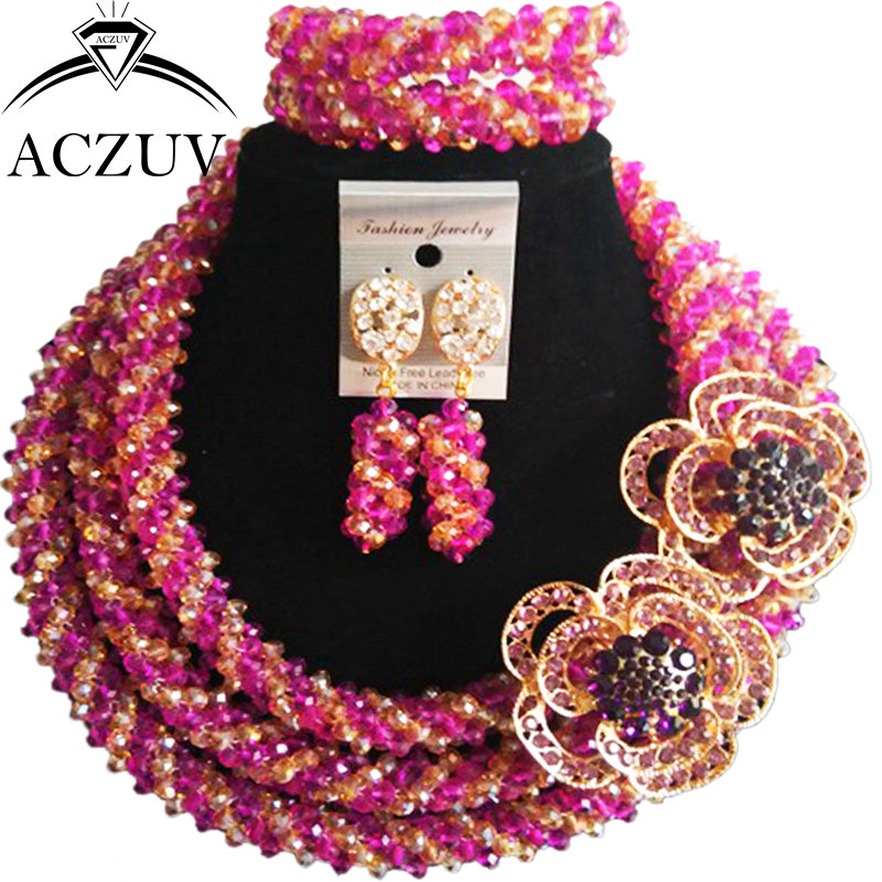 ACZUV Purple and Gold AB Crystal Dubai Jewelry Set African Wedding Beads Necklace and Earrings Bracelet Sets A3R011ACZUV Purple and Gold AB Crystal Dubai Jewelry Set African Wedding Beads Necklace and Earrings Bracelet Sets A3R011