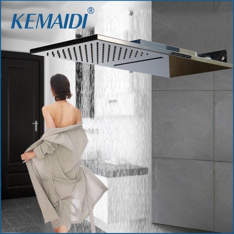 KEMAIDI 8 Inch Bathroom Shower Head Rainfall Square Stainless Steel Shower Head Bathroom Shower Wall Mount Overhead