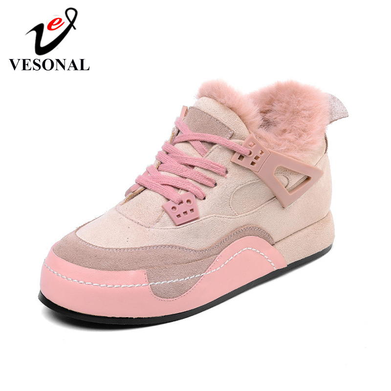 VESONAL Brand 2019 Winter Fashion Casual Shoes Plus Velvet Warming Women Shoes Cow Suede Woman Sneaker Ladies Female Footwear(China)