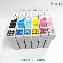 T0821 Ink cartridge For Epson Stylus R270 R390 TX650 T50 T59 RX590 TX700W TX800W TX720 TX700 TX800 RX610 Printer T0821 - T0826