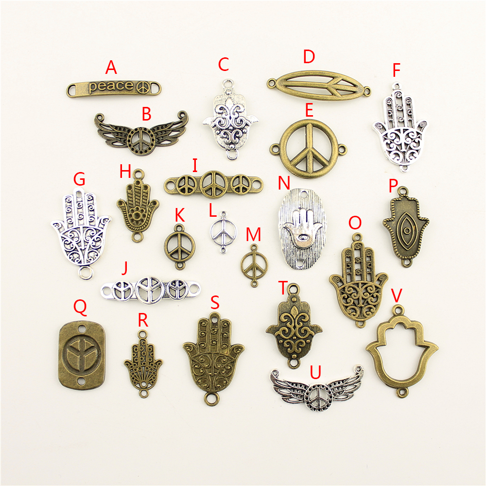 20Pcs Wholesale Bulk Jewelry Findings Components Peace Diy Accessories Jewelry Female HK091 in Charms from Jewelry Accessories