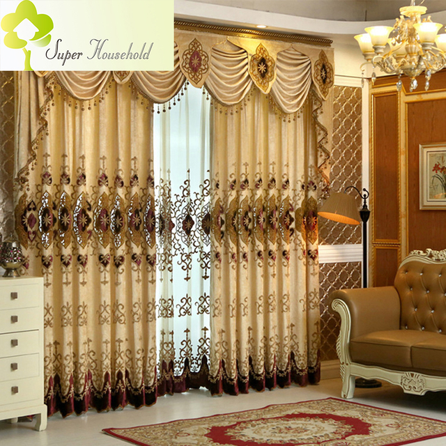 Direct Selling New Europe Curtains Living Room Blackout Luxury Chenille Thick For Bedroom Dinning Window ( Without Valance)