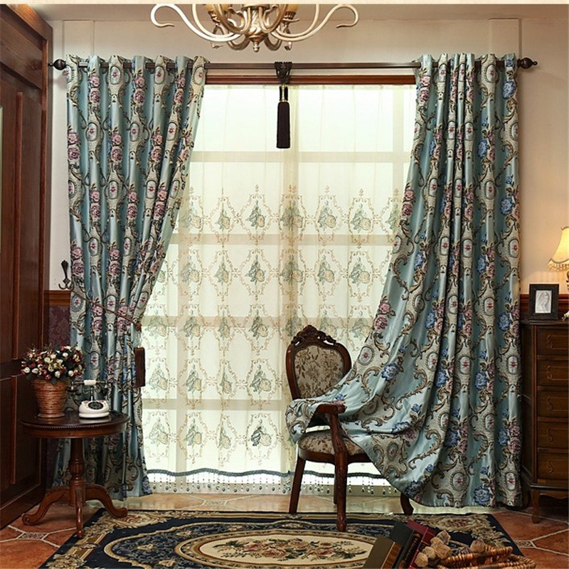 European Style Luxury Relief Jacquard Blackout Curtain For Living Room Embroidered Voile Curtains Window Bedroom In From Home Garden