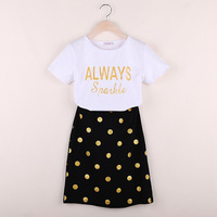 2019 Summer New Family Matching Clothes Mather And Daughter Clothing Family Look Shirt Sleeve T Shirts + Dot Skirts 2pcs Outwear