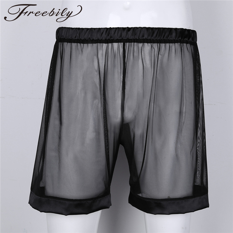 Mens Boxer Soft Breathable Underwear Mens Lingerie See-through Mesh Loose Lounge Underwear Cover up Boxer Trunks