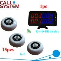 Sistema de chamada de pager eletrônico 15 pcs K-P transmissor sem fio com 1 pc número de exibição de tela