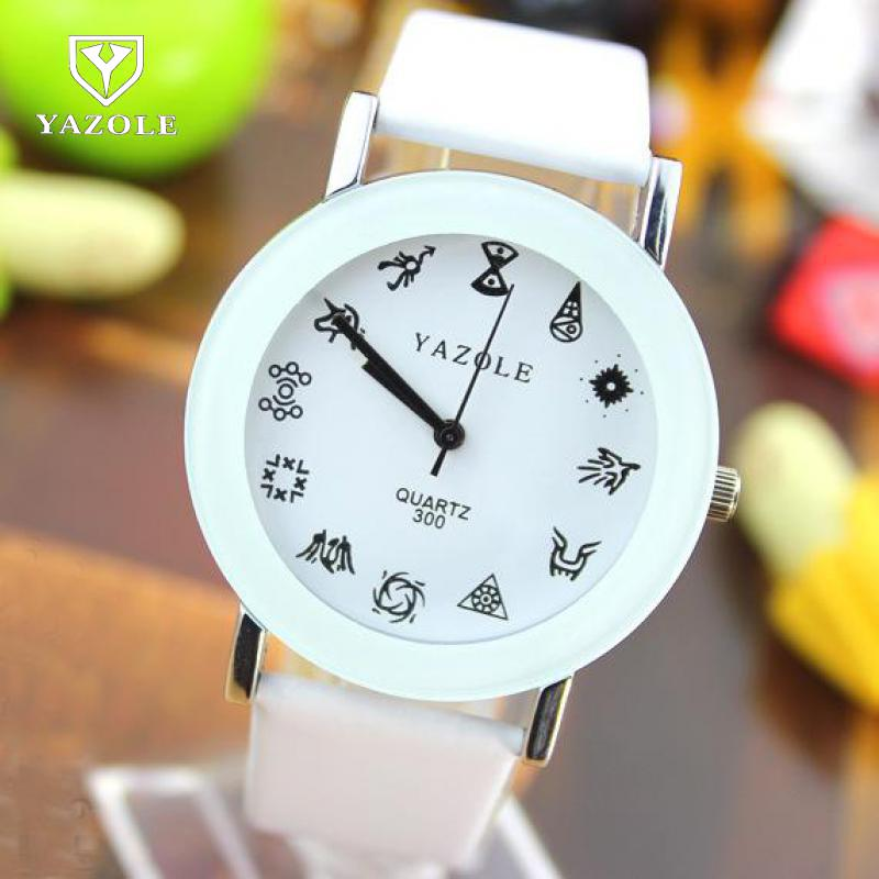 2018 Fashion YAZOLE PU Leather Constellation EXO Casual Quartz Wrist Watch Wristwatches For Men Women Students Lovers No.300