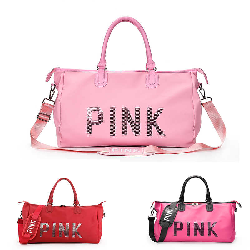 65b404ecf1 Women Pink/Red/Rose Nylon Sport Gym Bag Travel Duffle Bags Waterproof  Handbag Outdoor