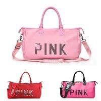 Women Pink/Red/Rose Nylon Sport Gym Bag Travel Duffle Bags Waterproof Handbag Outdoor Fitness Shoulder Bag sac de sport tasche