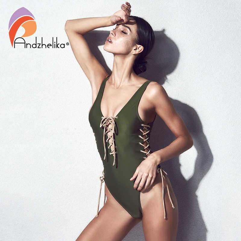 Andzhelika Một Mảnh Mới Sexy Băng Dây Đồ Bơi Brasil Bodysuit Vintage Áo Tắm Monokini AK8671